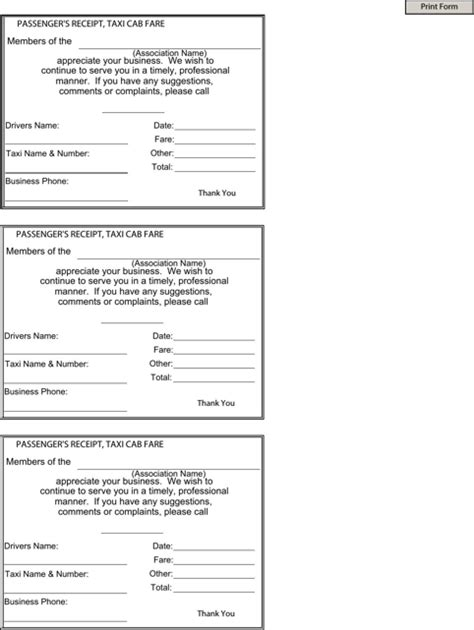 Blank Taxi Receipt Template by Blank Taxi Receipt Templates Forms Receipt