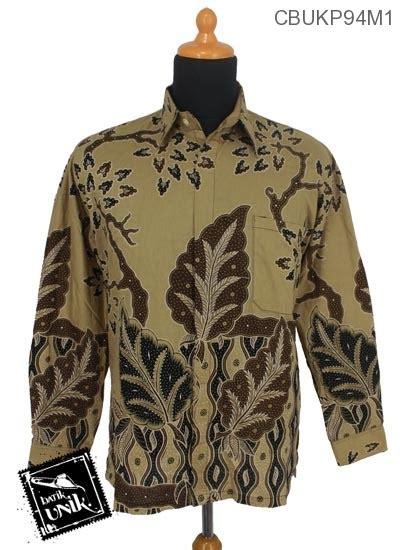 Kemeja Batik Pekalongan Motif Daun Merambat baju batik kemeja panjang motif daun jati kemeja lengan