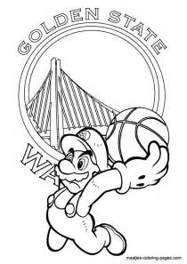 golden state warriors coloring pages golden state warriors and mario nba coloring pages