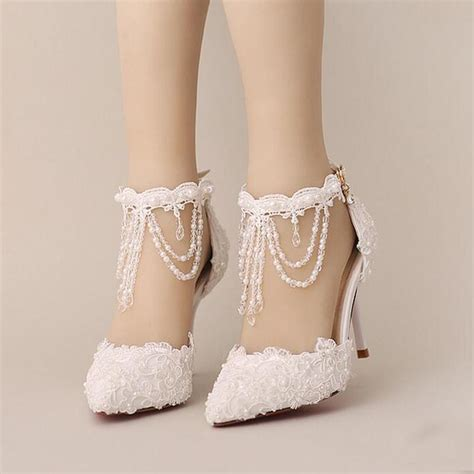 Pearl Bridal Shoes by New Summer White Pearl Lace Bridal Shoes Beautiful