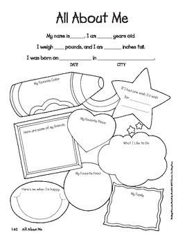 free all about me worksheet for kindergarten all about