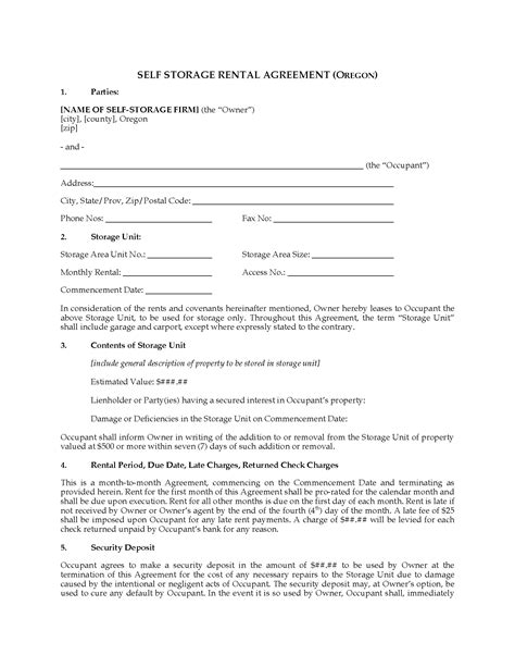 storage rental agreement template oregon self storage lease agreement forms and