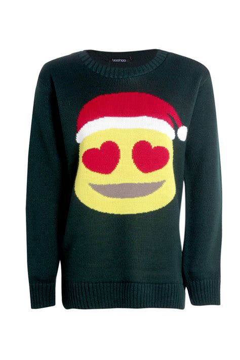 emoji xmas jumper boohoo womens erin hearts emoji christmas jumper in bottle