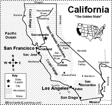 california map labeled california map quiz printout enchantedlearning