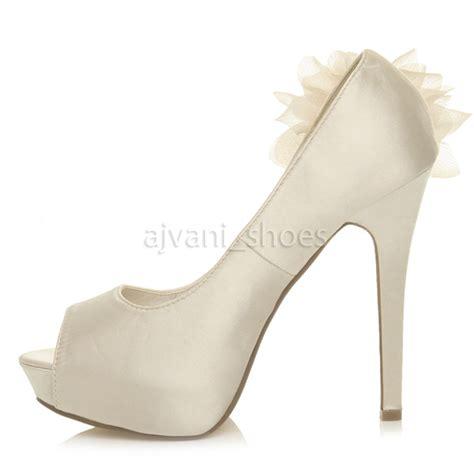 evening shoes womens high heel platform peeptoe flower wedding