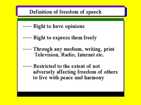 right meaning freedom of speech and press definition www
