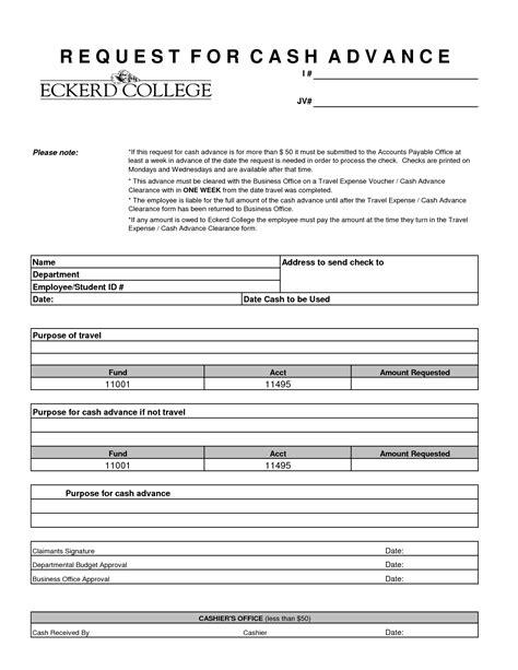 employee cash advance form template 7 salary receipt