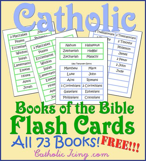 printable flash cards books of the bible catholic books of the bible resources for kids song free