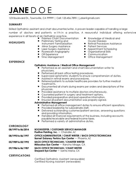 Resume Templates Ophthalmic Technician Professional Ophthalmic Assistant Templates To Showcase Your Talent Myperfectresume