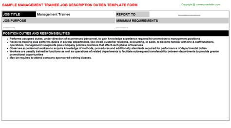 Management Trainee Description by Management Trainee Title