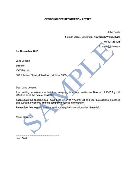 officeholder resignation letter template sample