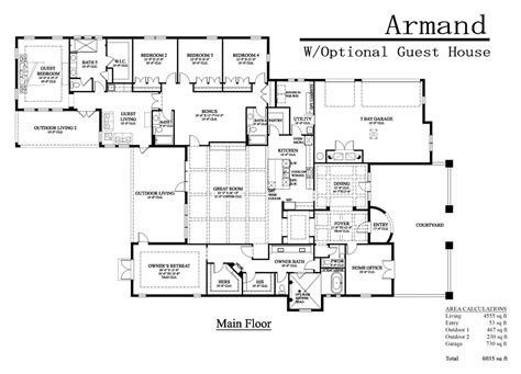 guest house house plans floor plans with attached guest house