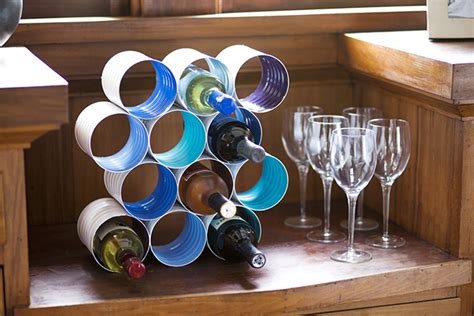 diy wine bottle rack made from coffee cans home design
