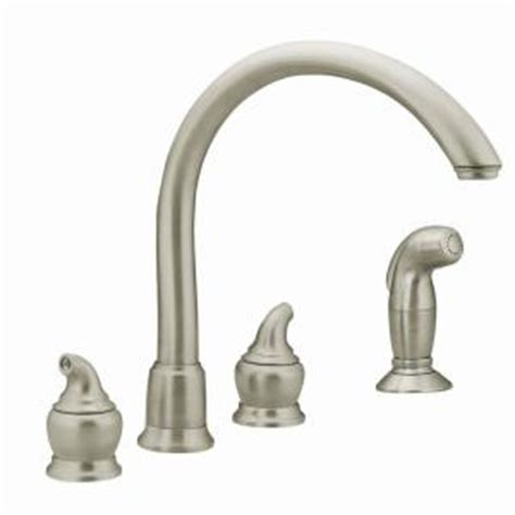 moen monticello 2 handle kitchen faucet in stainless steel