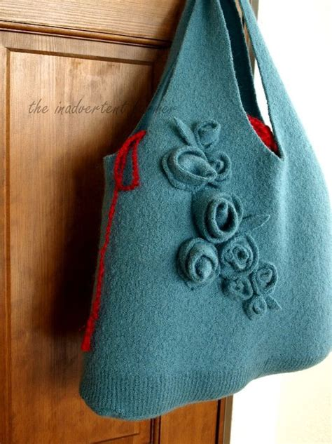 Diy Handmade Bags - felted handmade bag from recycled sweater totally green