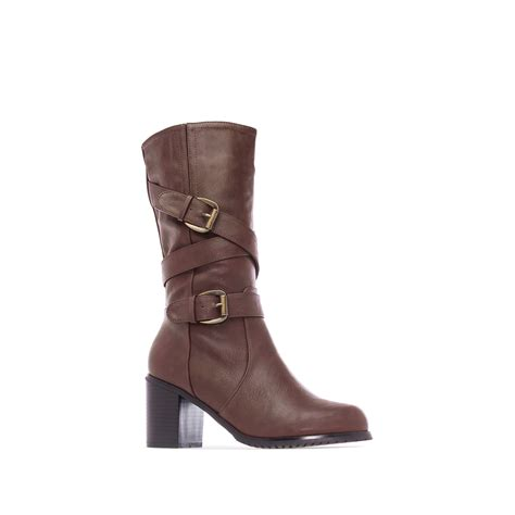 mid calf heeled boots in brown faux leather alonai 4 90