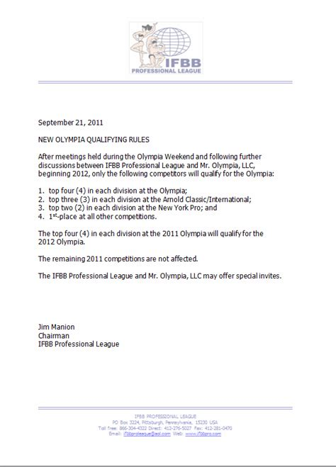 Ifbb Pro Advisory Notice 092111 Ifbb Professional League Advisory Notice Template