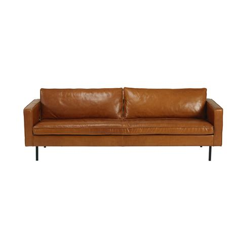 4 seater sofa leather cognac leather 4 seater sofa potter maisons du monde