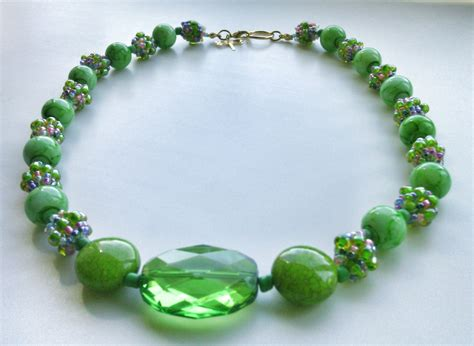 green beaded necklace green beaded necklace combination bead necklace seed bead