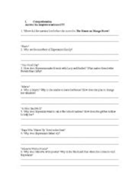 printable the house on mango street english worksheets house on mango street