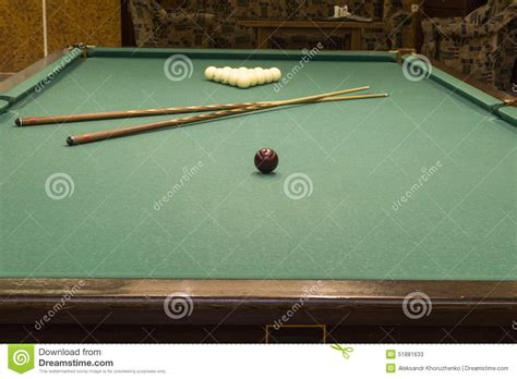 pool table cues wooden pool table with cues stock photo image 51881633