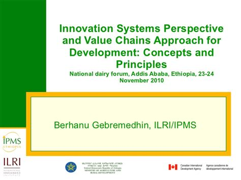 application design concepts and principles innovation systems perspective and value chains approach