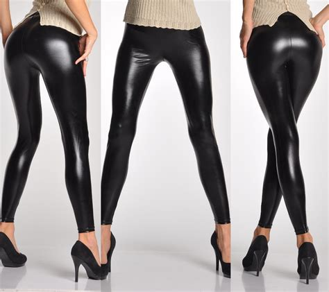 Stretch Tights look shiny black faux leather stretch