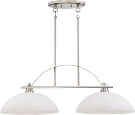 Nickel Island Light Fixture Two Light Island Pendant Brushed Nickel Finish With Frosted Glass Contemporary Pendant