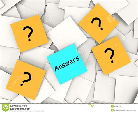 questions answers post it notes show asking and stock