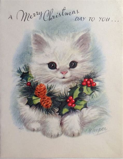 vintage marjorie cooper christmas card white kitten christmas cats vintage christmas