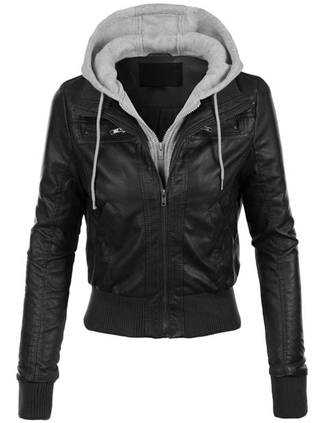Vest Hoodie Black black leather jacket grey hoodie attached