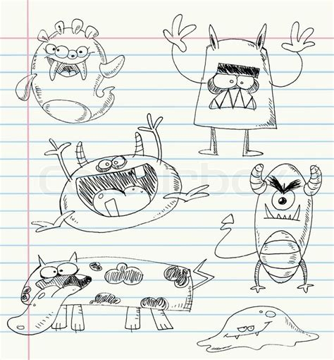 doodle release demons vector doodles on a notebook paper set number 2