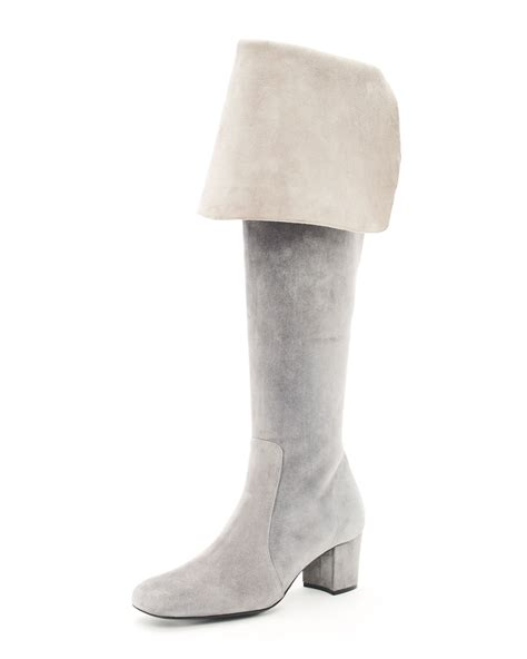 michael kors the knee suede boot in gray lyst