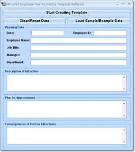 employee warning notice template free ms word employee warning notice template