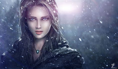 wallpaper girl painting painting art glance snowflakes face girls wallpaper