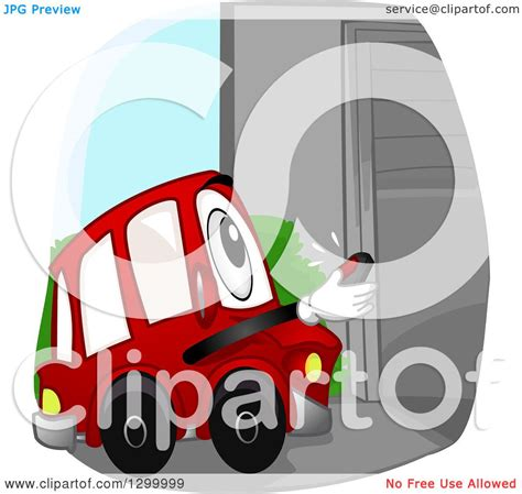 Opening A Car Garage by Clipart Of A Car Character Opening A Garage With A