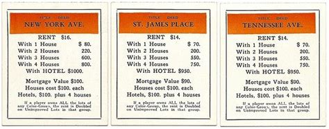 mortgaging houses in monopoly orange monopoly deed cards classic monopoly property