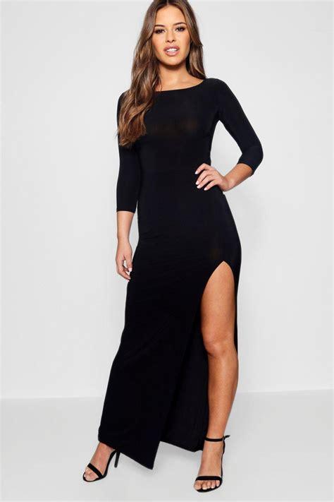 Maxi Aisyah Black 1 candice robe maxi pr 232 s du corps fendue sur le c 244 t 233