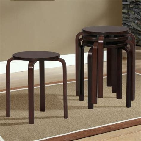 Bentwood Stacking Stools by Linon Bentwood Stackable Stool Wenge 17 In
