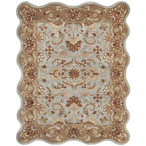 scalloped rug hg822a 6rs safavieh hg822a 6rs heritage area rug in blue beige with scalloped edges goingrugs