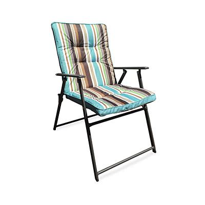 Wilson Fisher 174 Stripe Padded Outdoor Folding Chair Big Padded Folding Patio Chairs