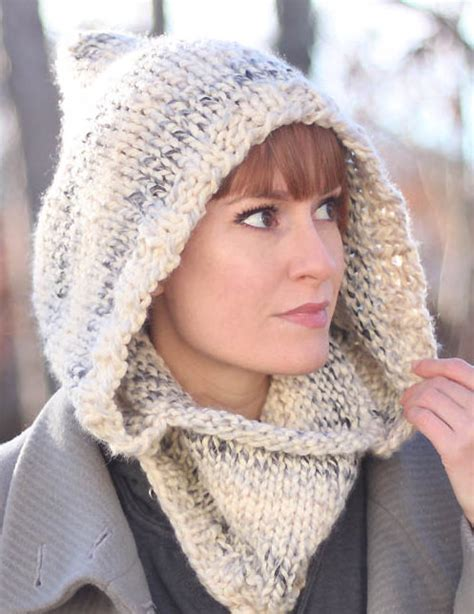 hooded cowl knit pattern knitting patterns in the loop knitting