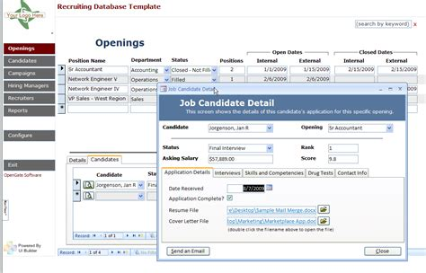 access templates opengatesw netmicrosoft access recruiting