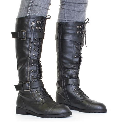 womans combat boots womens knee high lace up army combat boots size 3