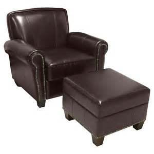 redmond leather nailhead club chair and storage ottoman brown at hayneedle