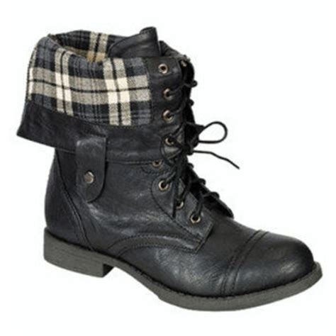 Almost Boot Trendy plaid combat boots fold black from ebay