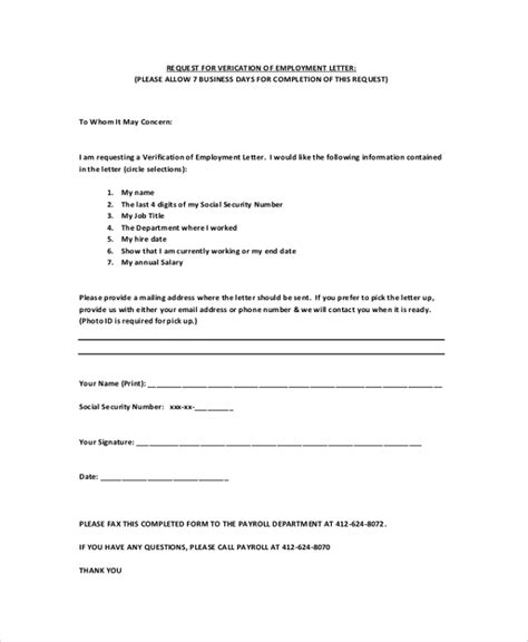 Request Letter Hr Address Proof Printable Sle Letter Of Employment Verification Form