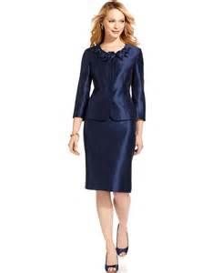 kasper suit three quarter sleeve shantung jacket amp skirt