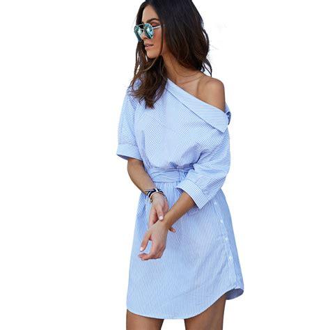Blue The Leisure S M L Dress 43048 Ms Inclined Shoulder Stripe Shirt Dress Sweet Leisure