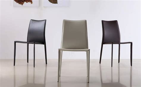 marengo leather contemporary dining chair in black brown